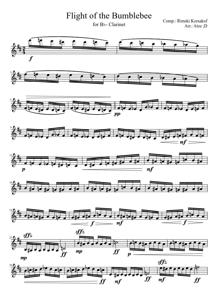 Flight Of The Bumblebee Clarinet Sheet Music : flight, bumblebee, clarinet, sheet, music, Flight, Bumblebee, B♭-Clarinet, Sheet, Music, Woodwinds, (Other), (Solo), Musescore.com