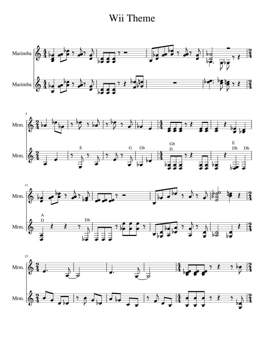 Mii Theme Sheet Music : theme, sheet, music, Theme, Marimba, Sheet, Music, (Percussion, Duet), Musescore.com