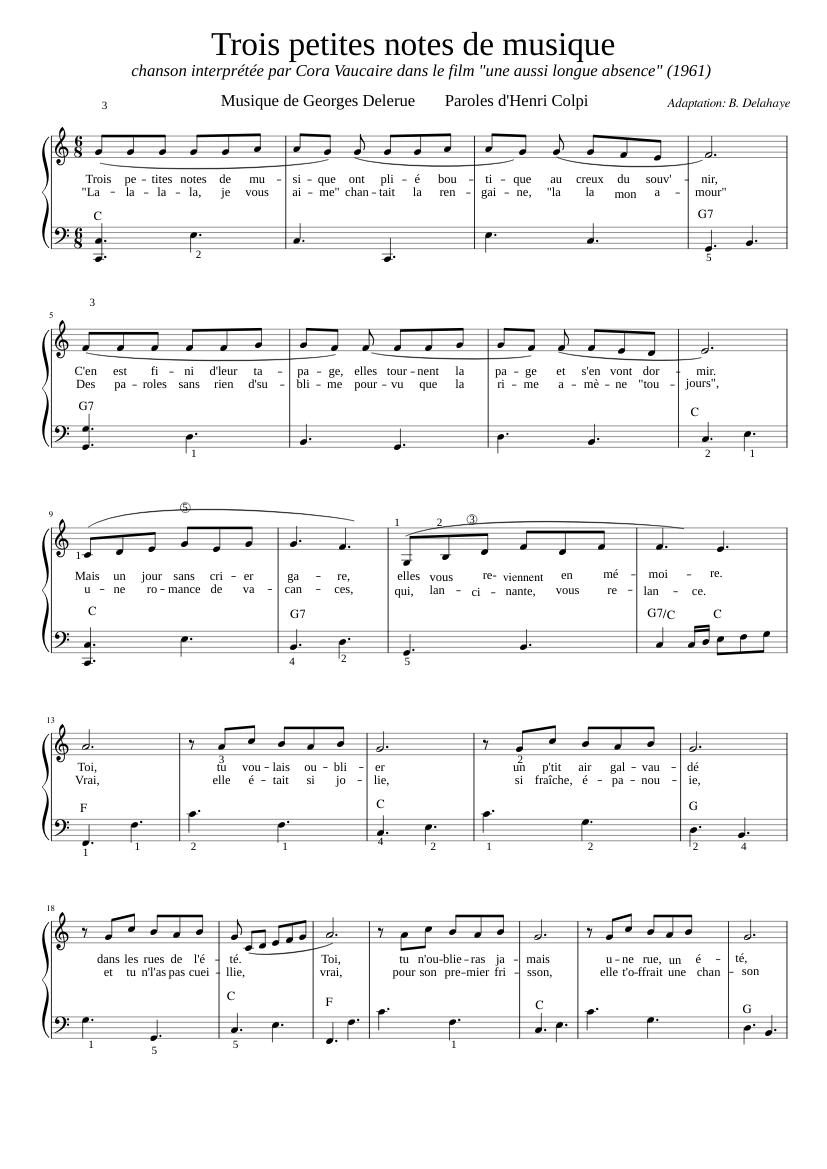 Trois Petites Notes De Musique Paroles : trois, petites, notes, musique, paroles, Petites, Notes, Musique,, Piano-chant, Sheet, Music, Vibraphone,, Harmonica, (Mixed, Duet), Musescore.com
