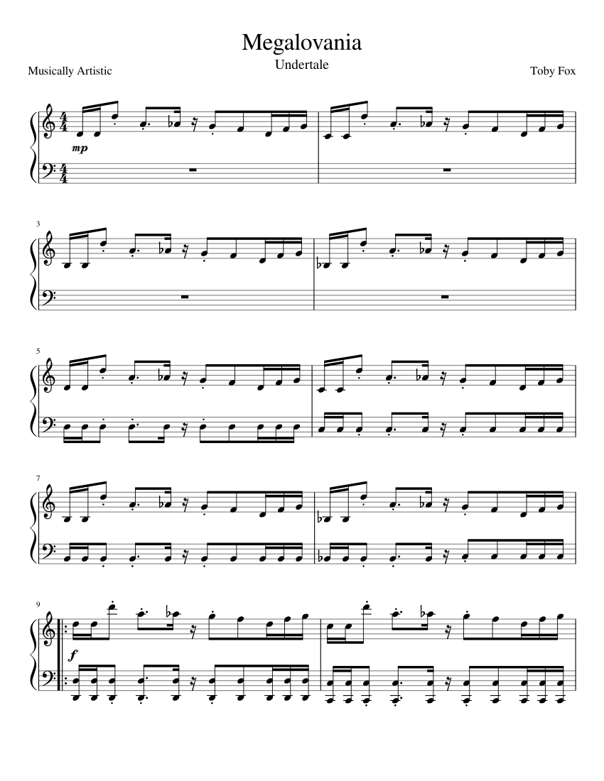 Megalovania Notes Piano : megalovania, notes, piano, Megalovania, Undertale, Sheet, Music, Piano, (Solo), Musescore.com