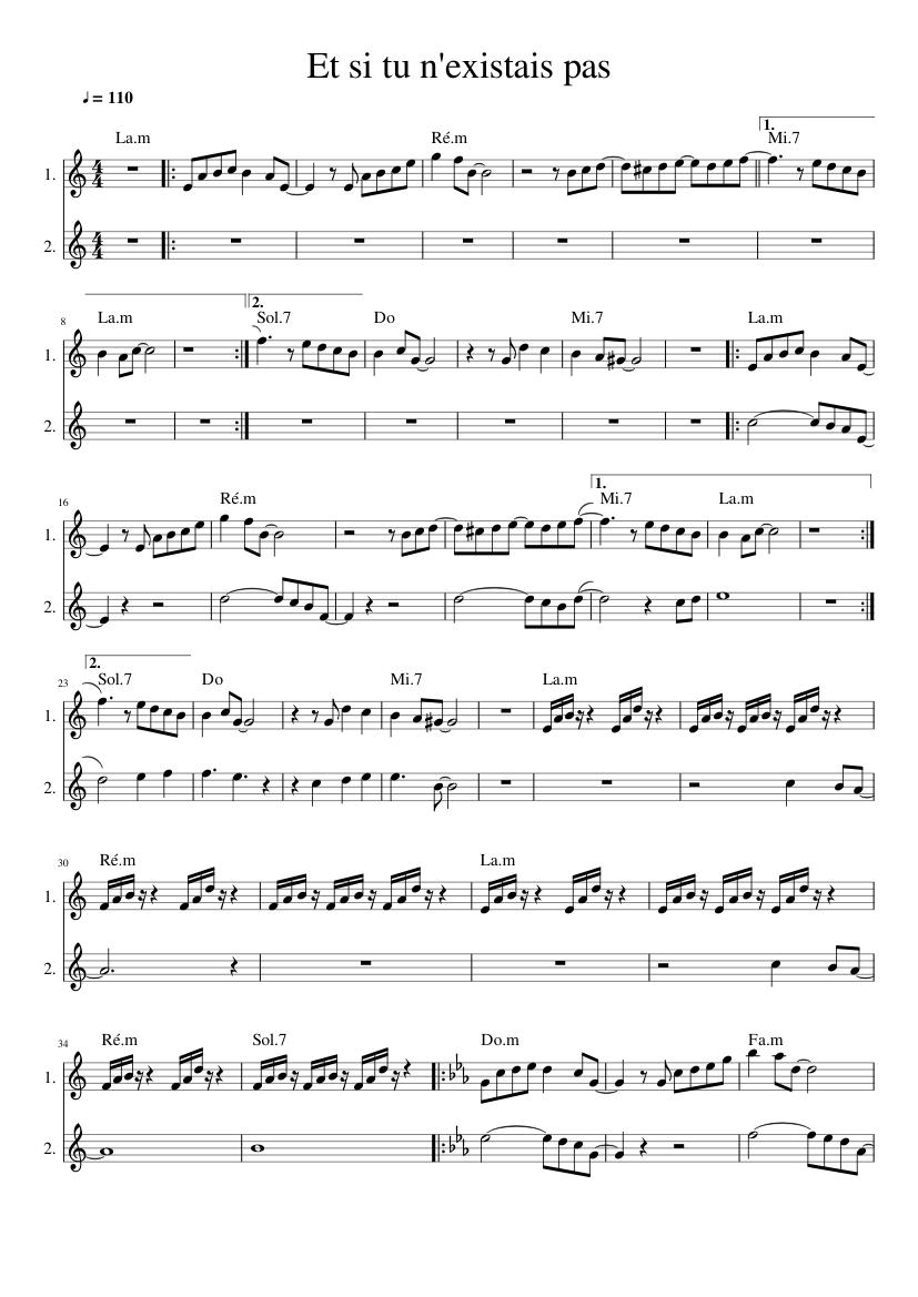 Et Si Tu N Existais Pas : existais, N'existais, Sheet, Music, Trumpet, Accordion, (Mixed, Duet), Musescore.com