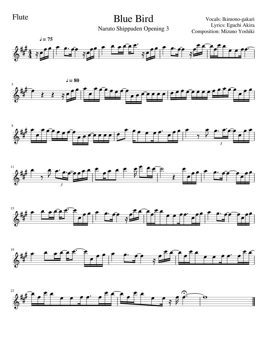 Blue Bird Violin Sheet Music : violin, sheet, music, Bird,, Naruto, Shippuden, Sheet, Music, Flute, (Solo), Musescore.com