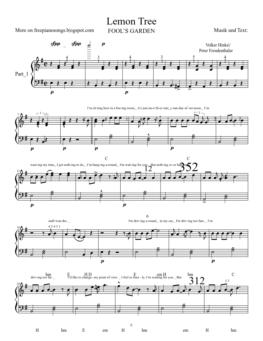 lemon tree sheet music for Piano download free in PDF or MIDI