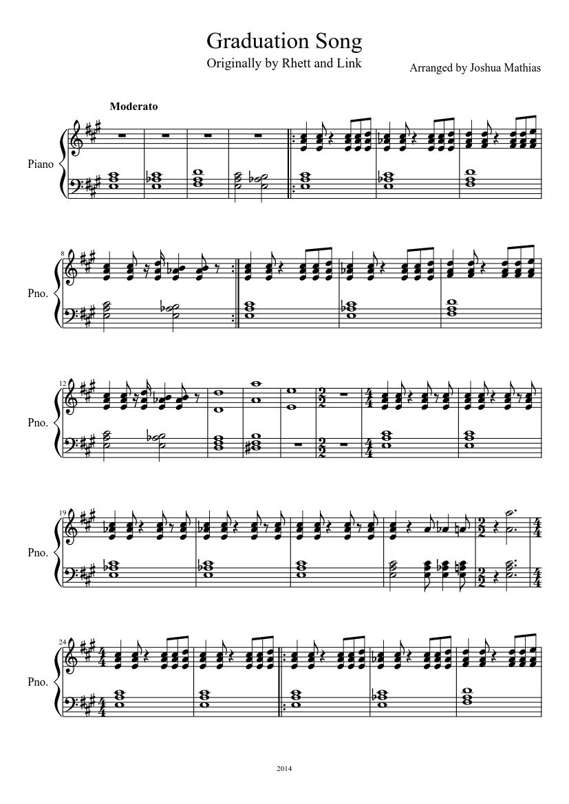 graduation song sheet music
