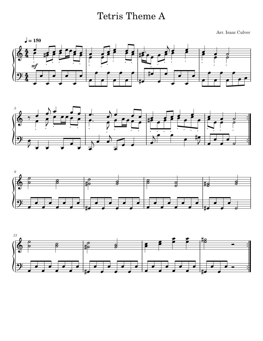 Tetris Theme A Sheet music for Piano. Percussion | Download free in PDF or MIDI | Musescore.com
