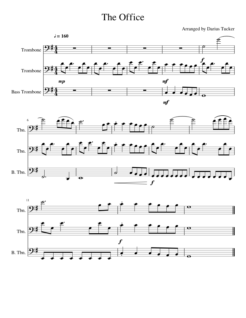 The Office (Trombone Trio) sheet music for Trombone download free in PDF or MIDI