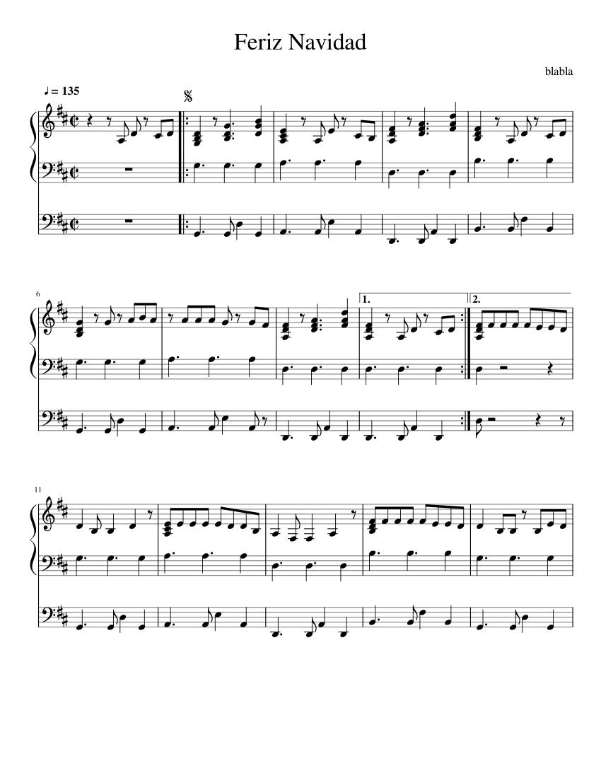 Feliz Navidad Sheet music   Download free in PDF or MIDI   Musescore.com