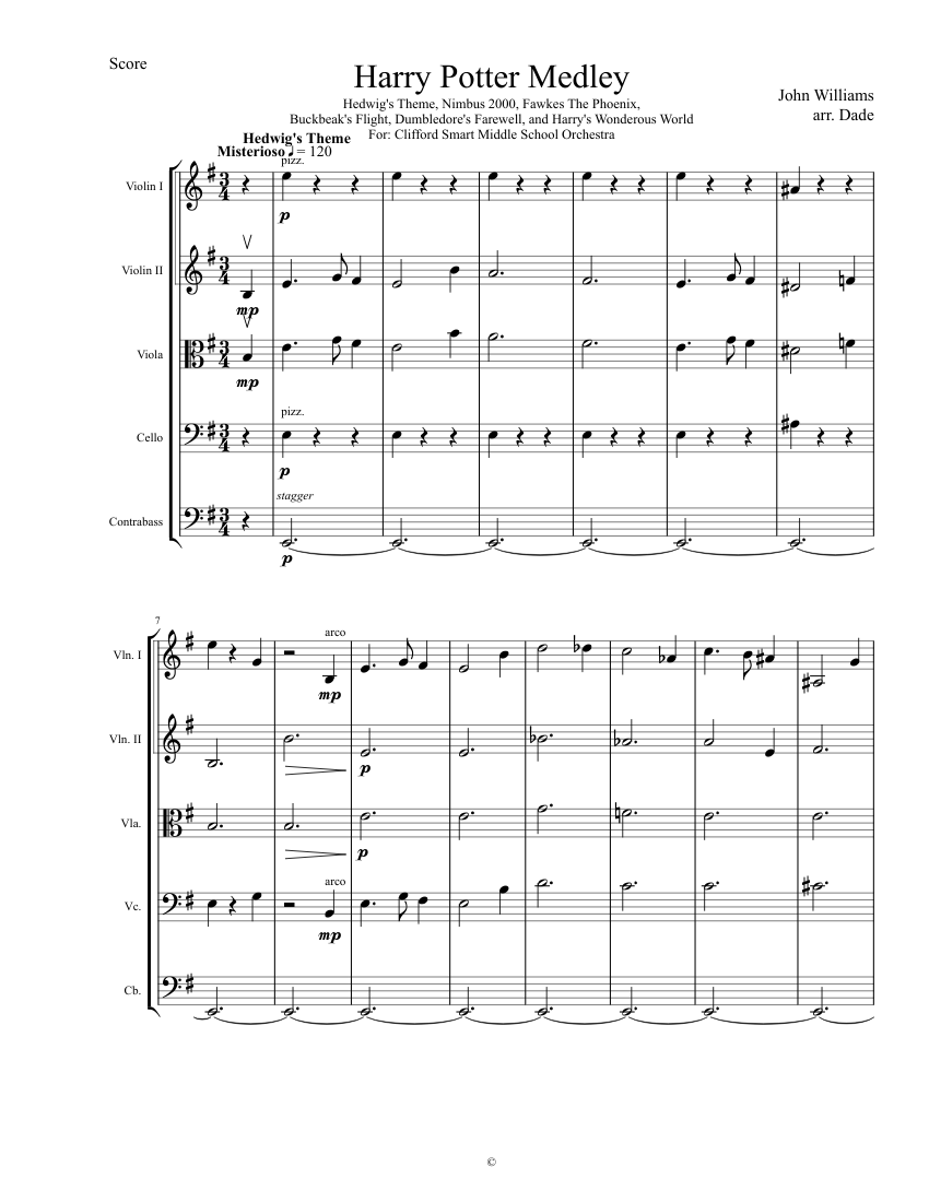 Harry Potter Medley sheet music for Strings download free in PDF or MIDI