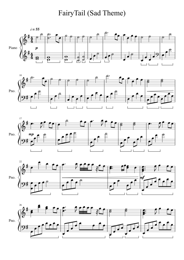 Fairy Tail Sad Theme Sheet Music For