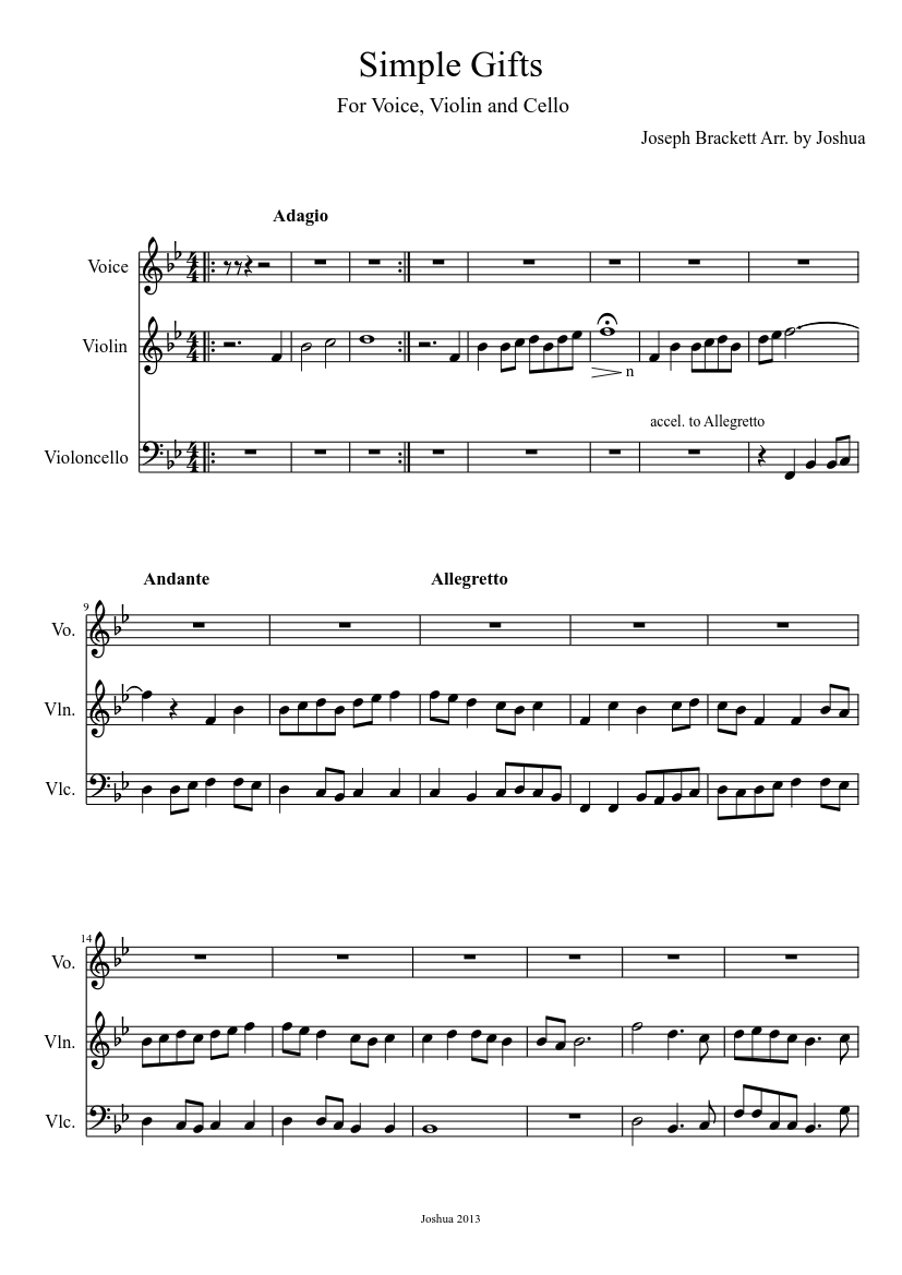 Simple Gifts Sheet Music Download Free In Pdf Or Midi
