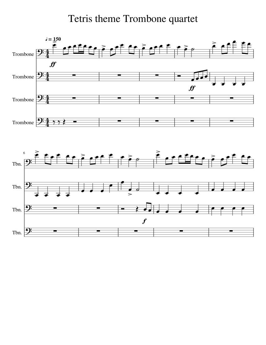 Tetris theme Sheet music for Trombone (Mixed Quartet) | Musescore.com