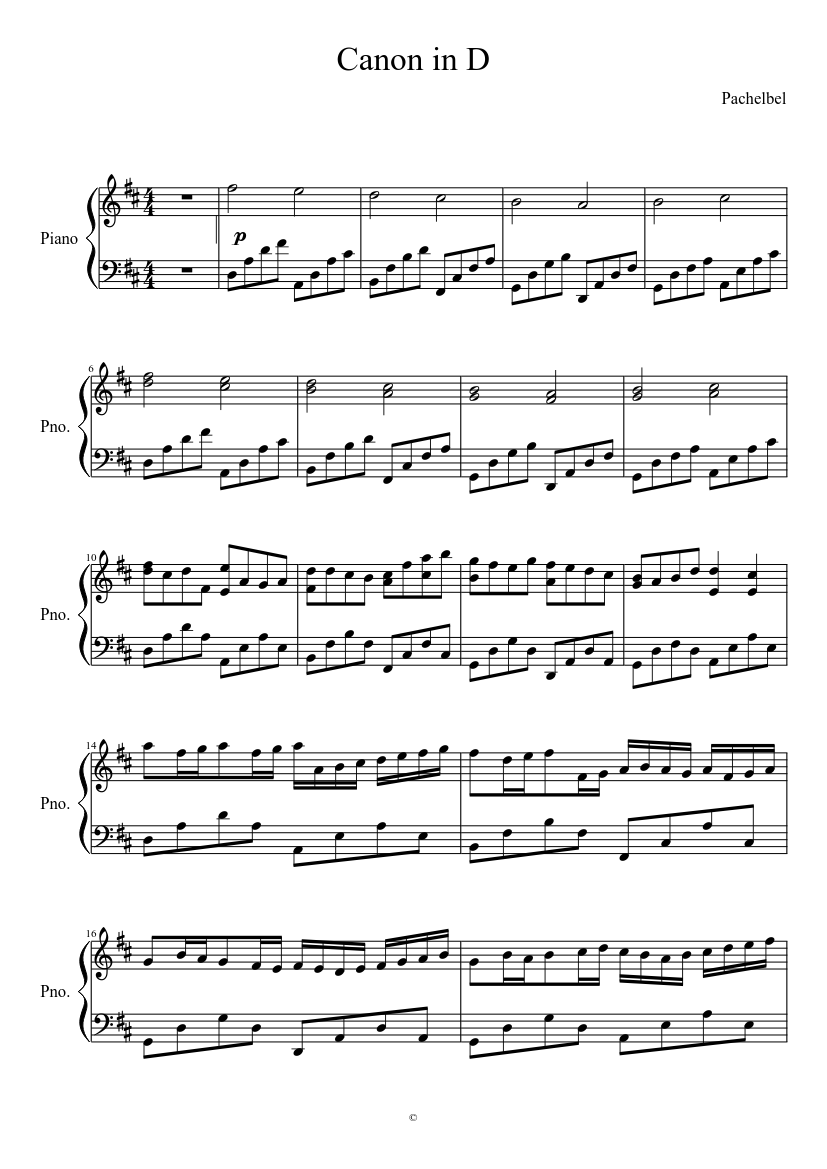 Canon in D - Pachelbel sheet music for Piano download free in PDF or MIDI