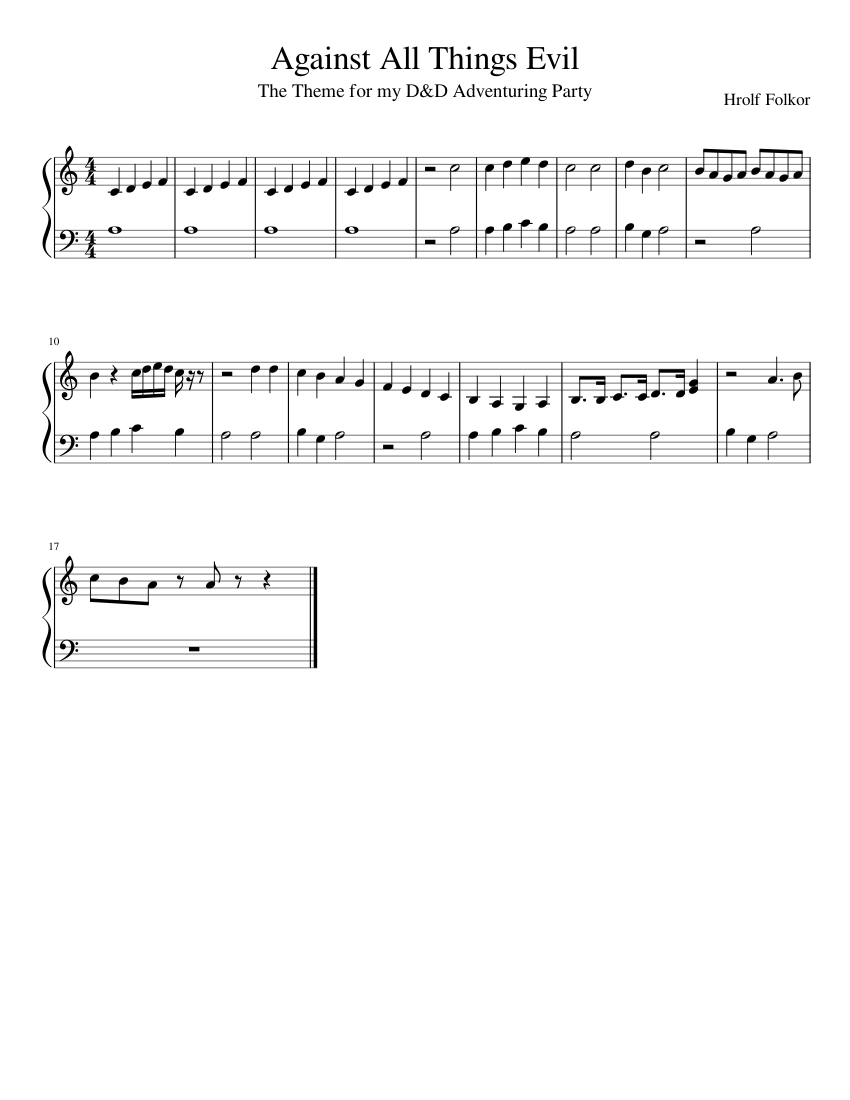 Against All Things Evil Sheet music for Piano | Download free in PDF or MIDI | Musescore.com