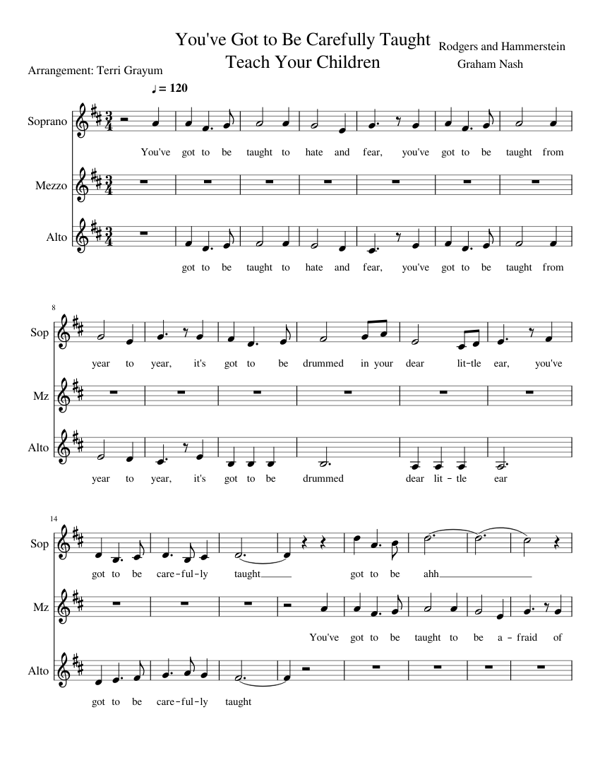 You've Got to Be Carefully Taught/Teach Your Children Sheet music   Musescore.com
