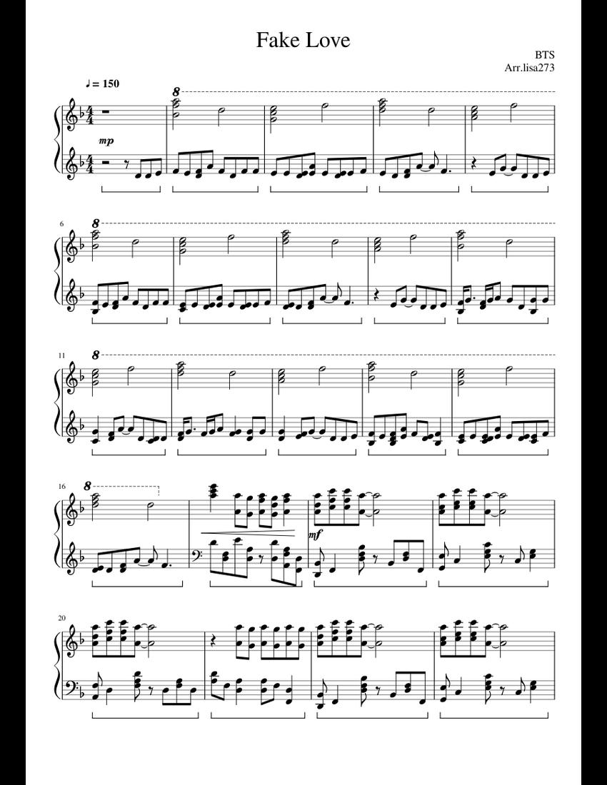 Fake Love - BTS Sheet music for Piano (Solo)   Musescore.com