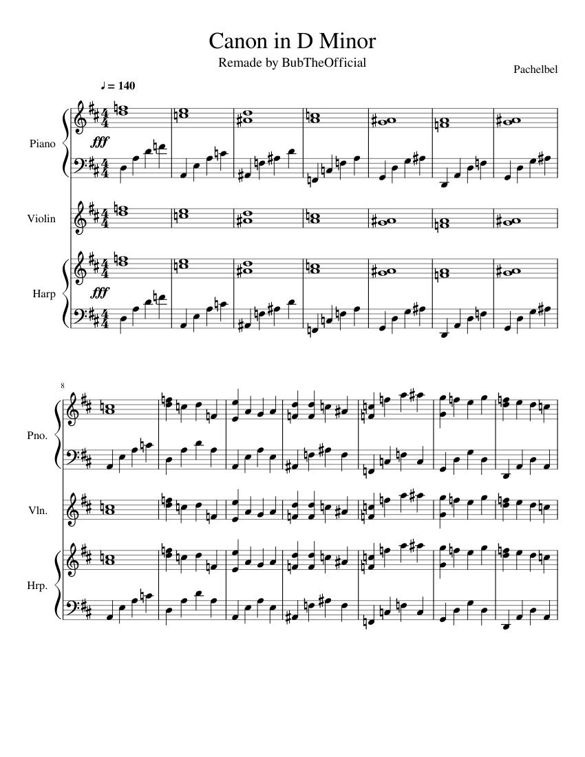 Canon in D Minor sheet music for Piano. Violin. Harp download free in PDF or MIDI