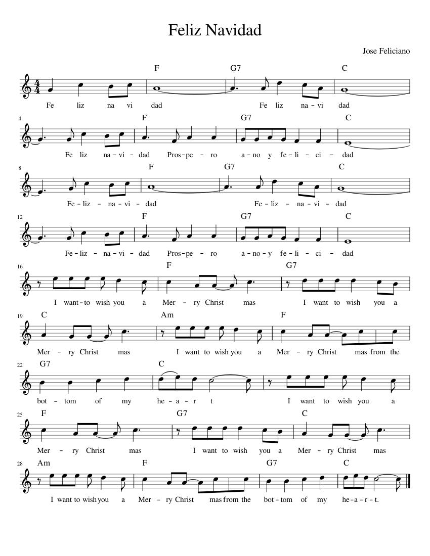 Feliz Navidad sheet music for Piano download free in PDF or MIDI