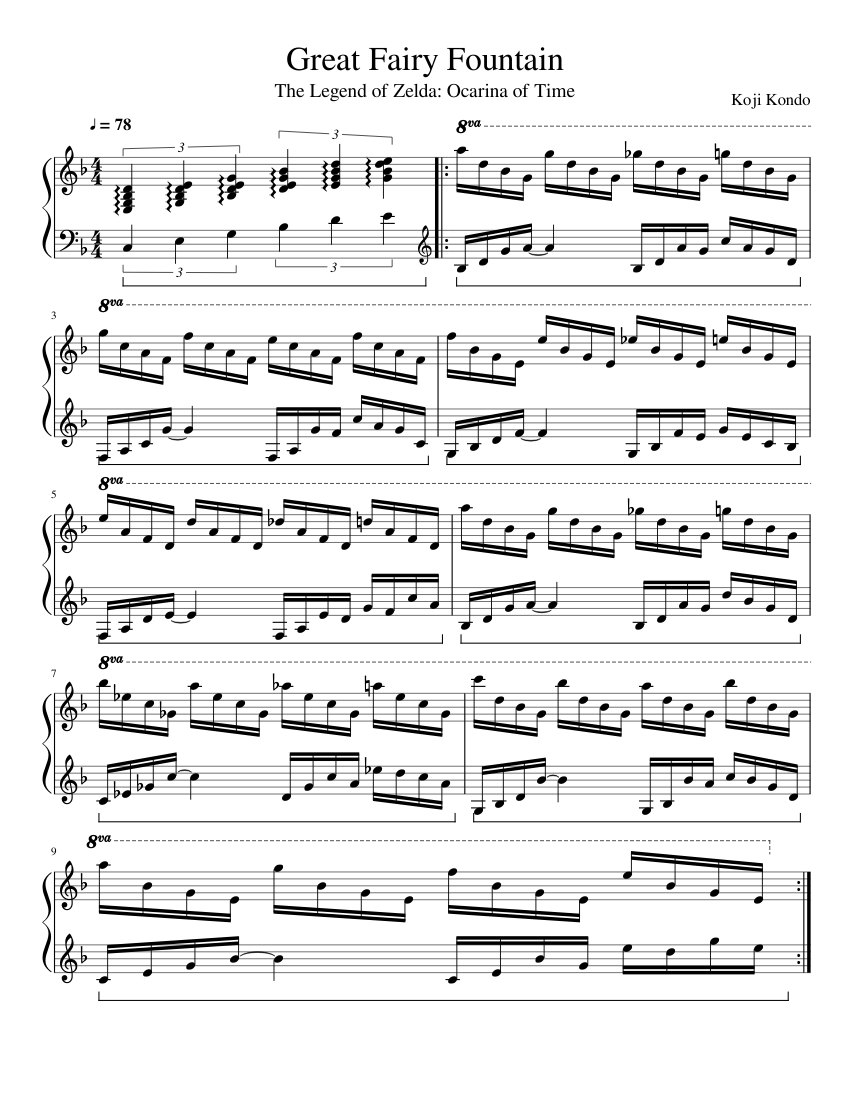 Great Fairy Fountain sheet music for Piano download free in PDF or MIDI