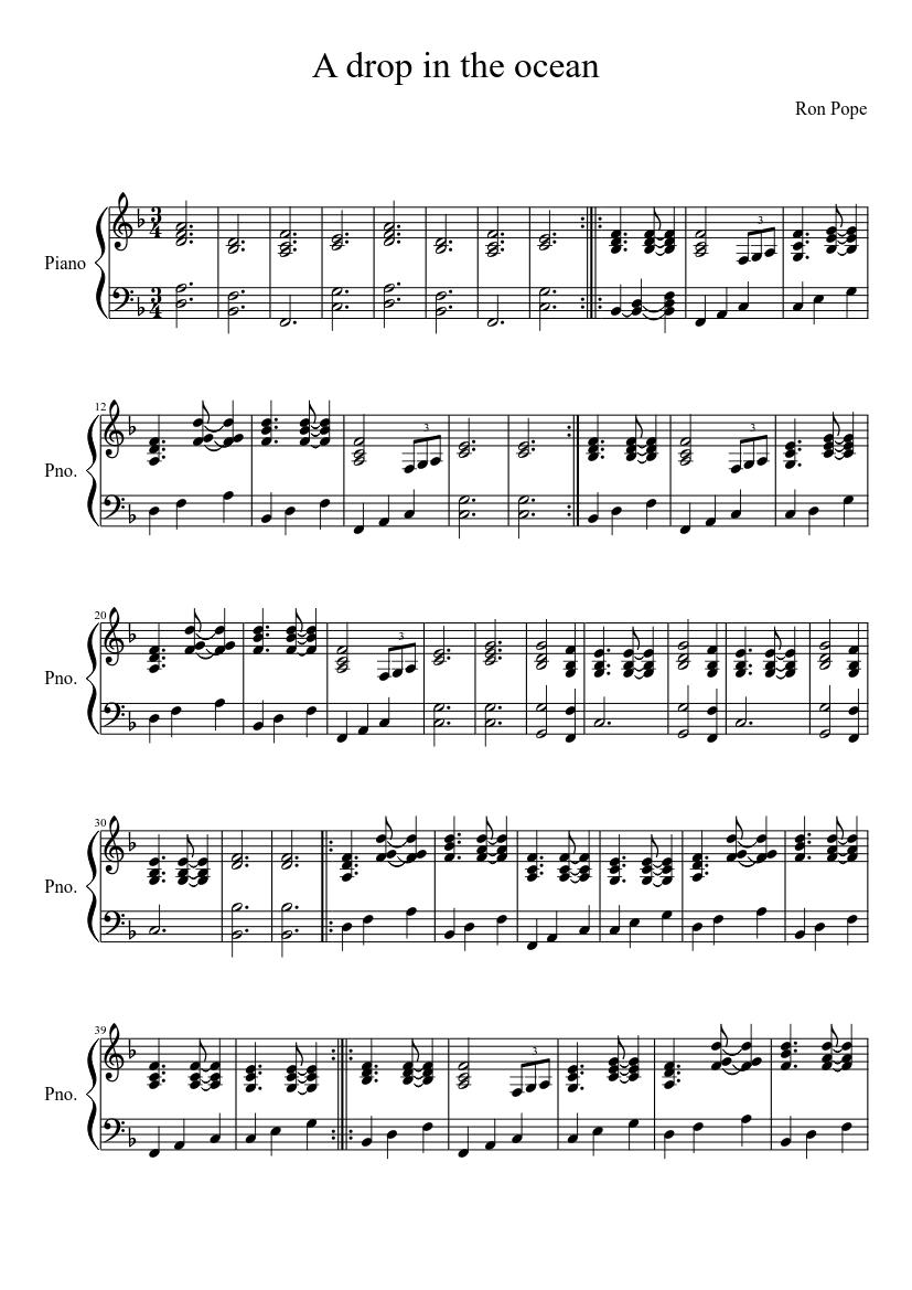 A Drop In The Ocean Piano Chords : ocean, piano, chords, Ocean, Sheet, Music