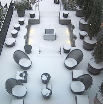 Garden of George Hotel, Hamburg, 8am. The first sign that the day wasn't going to go well. Very picturesque, but I had to get from Hamburg to London to give a presentation later that day and the hotel receptionist had just told me that Hamburg airport was shut because of the snow. To make matters worse, the internet was down, so I couldn't even email the debrief and present it over the phone, which is what multinational clients often want. But this was a local client, who didn't like the thought of that anyway. The weather meant that most of the clients couldn't make the few short miles from home to their office for the meeting either, but that made no difference: we were persona non grata for not getting there and we haven't worked with them again. The trials and tribulations of agency life! Actually, for exactly that reason we have a policy of not having a meeting on the same day as we are travelling, but sometimes that just isn't practical.