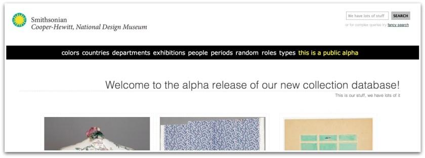 Explore the Collections - Screenshot of Cooper Hewitt Website