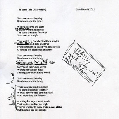 David Bowie The Stars (Are Out Tonight) Lyric Sheet A