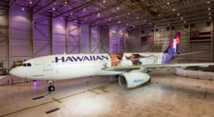 "Hawaiian Airlines today revealed the first of three ""Moana""-themed planes at its home base at Honolulu International Airport (HNL). Photo by Hawaiian Airlines"