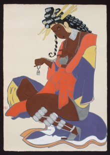"iona rozeal brown, American (born 1966), ""a3 blackface #65,"" acrylic on canvas, 85 x 59 inches, Gift of the artist, 2003.1"