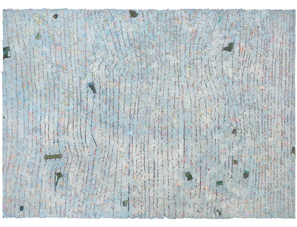 "Howardena Pindell ""Memory: Future, "" 1980-1981 Mixed media on canvas 83 x 116 1/2 inches Courtesy Garth Greenan Gallery"