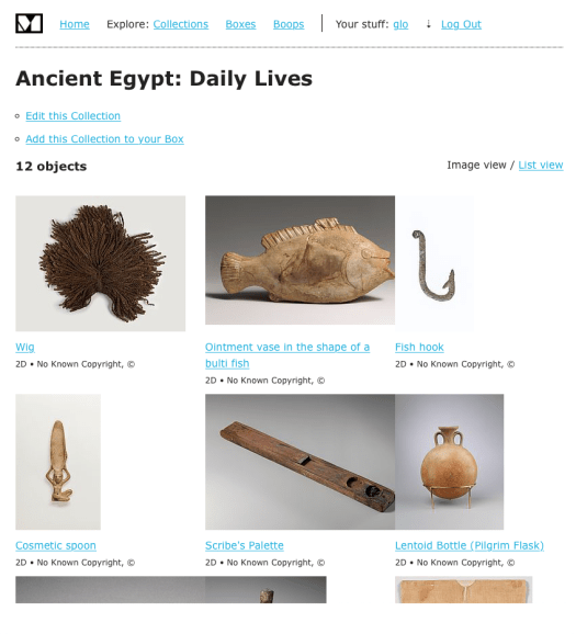 screenshot of a collection page on our web platform