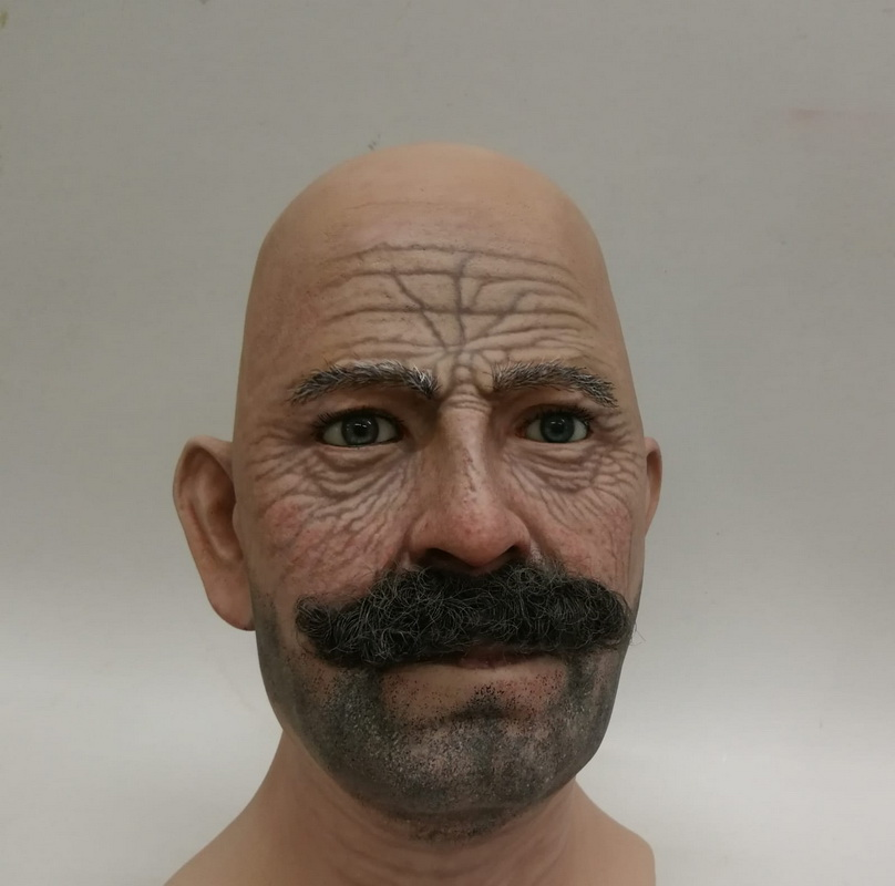 Airbrushed display head with wrinkles, stubble and glued moustache