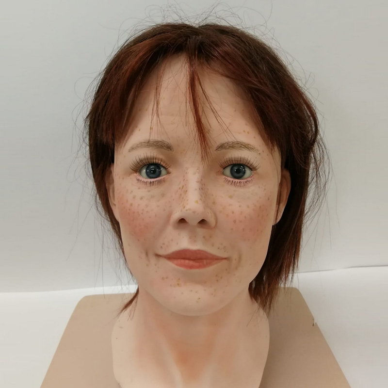Fibreglass ladies display head with freckles and wig