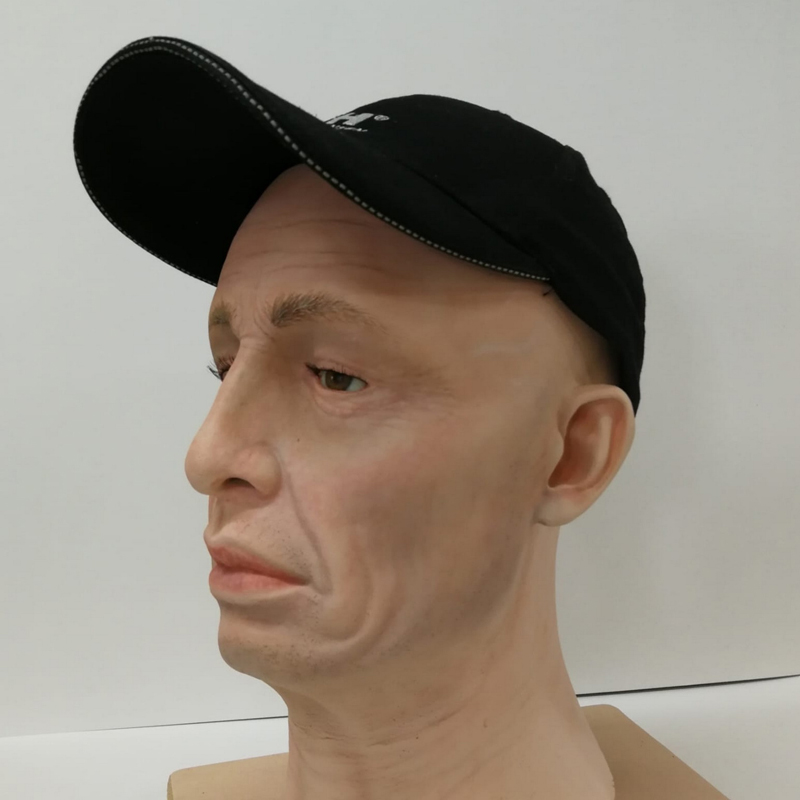 Male fibreglass display head with folds in the face