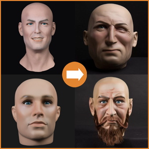 Realistic male heads