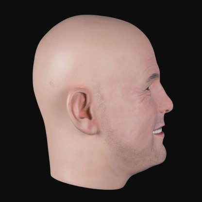 Airbrushed male airbushed fibreglass head side view
