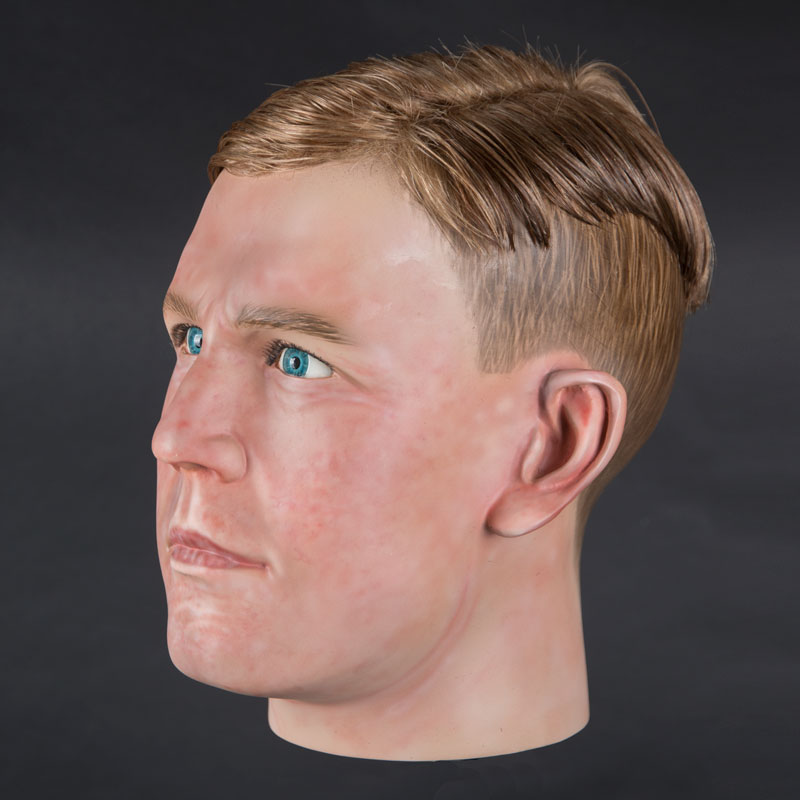 Airbrushed male mannequin head with glued hair (mha877)