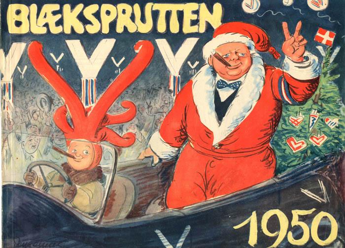 Winston Churchill tegning, Hørsholm Lokalarkiv, Blæksputten 1950