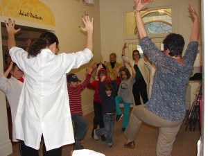 """Volunteers Tabitha and Rhona during our Nov. 23, 2012 PA Day Program """"Temples, Treatments and Tablets"""""""