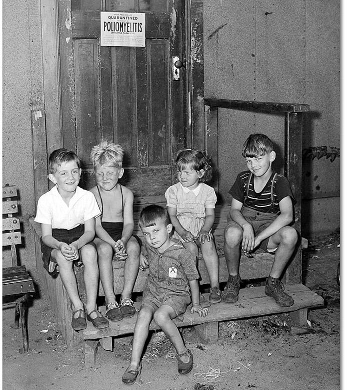 Children at Stanley Barracks housing under quarantine for polio, circa August 6 1947.