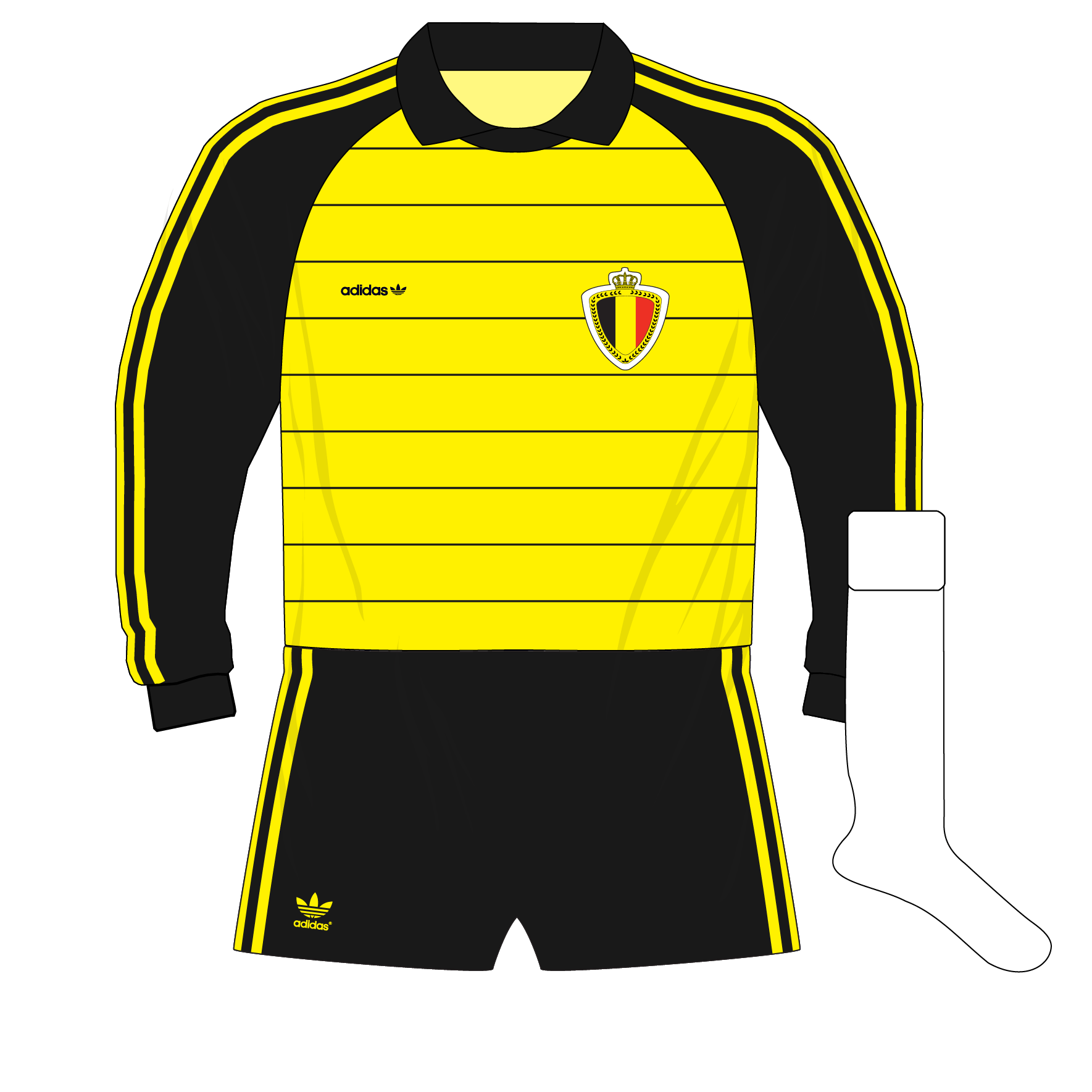 adidas-Belgium-yellow-goalkeeper-shirt-jersey-1982-Preud'homme