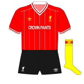 1983-1984-1985-Liverpool-alternative-home-kit-black-shorts-yellow-socks-Watford
