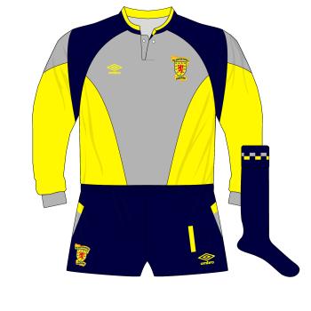 Scotland-Umbro-1988-1991-grey-yellow-goalkeeper-shirt-Jim-Leighton-World-Cup