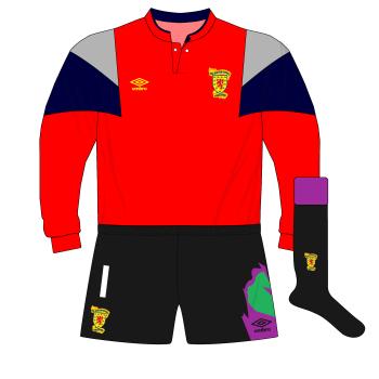 Scotland-Umbro-1989-1992-red-goalkeeper-shirt-Romania-Andy-Goram
