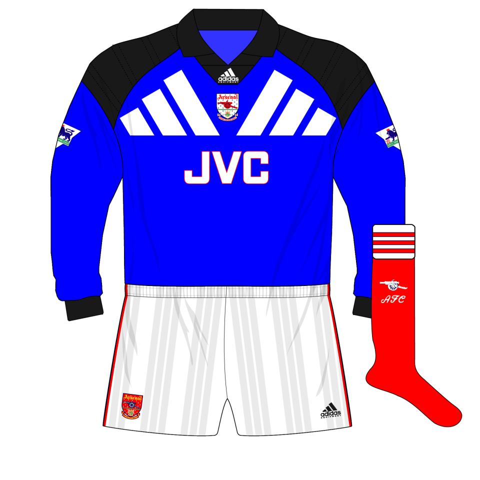 new arrival eb9f8 16c3e adidas-Arsenal-1992-1994-goalkeeper-home-shirt-kit-blue ...
