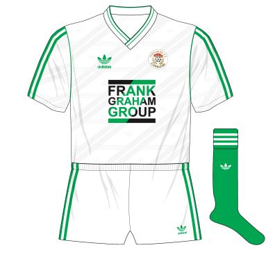 Hibernian-adidas-1987-1989-away-kit-shirt-Frank-Graham-Group-white-shorts-green-socks
