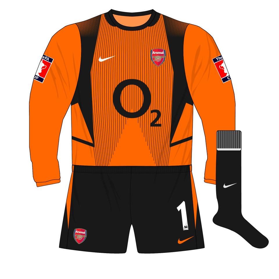 best cheap f265a 101a2 Arsenal-Nike-2002-2003-orange-goalkeeper-shirt-kit – Museum ...