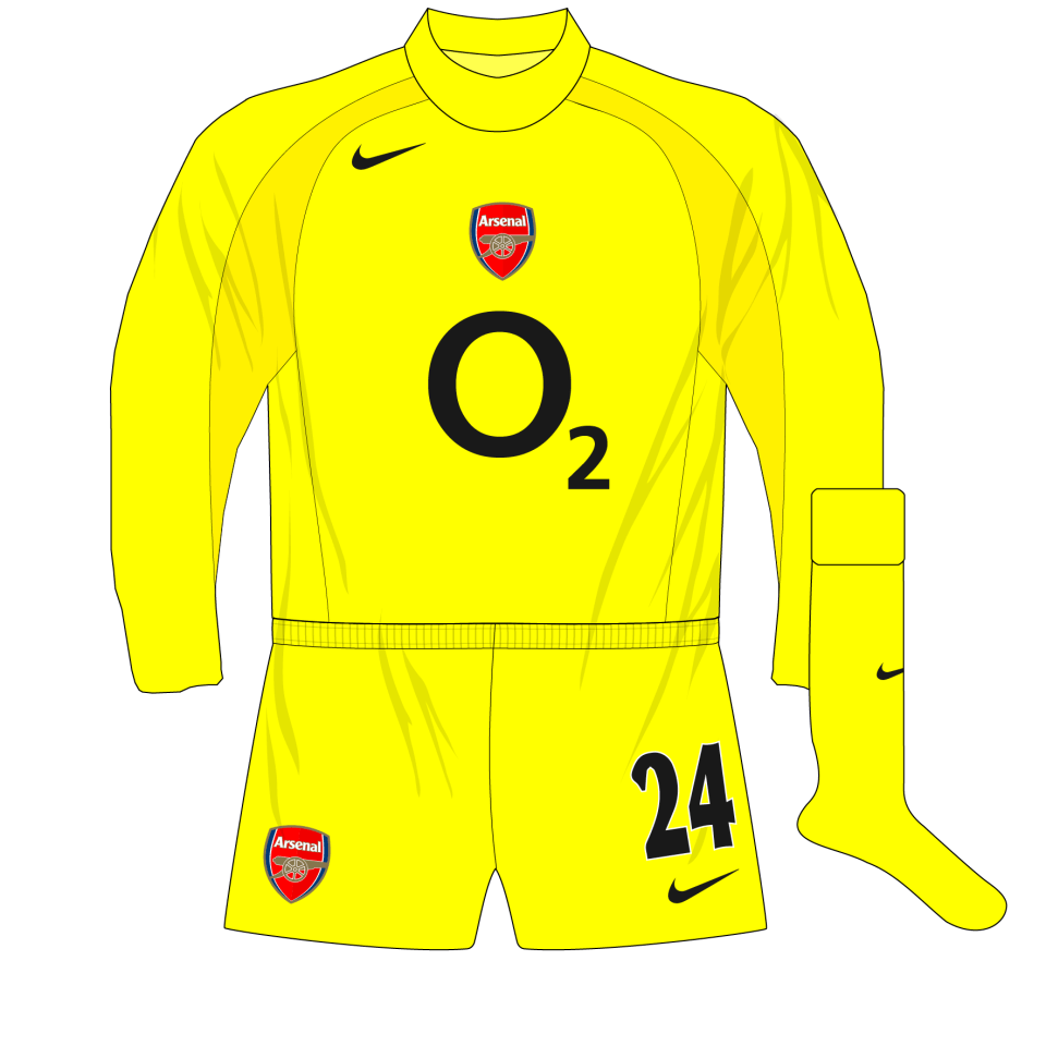 online store d3683 dbdf1 Arsenal-Nike-2004-2005-yellow-goalkeeper-shirt-kit-Almunia ...
