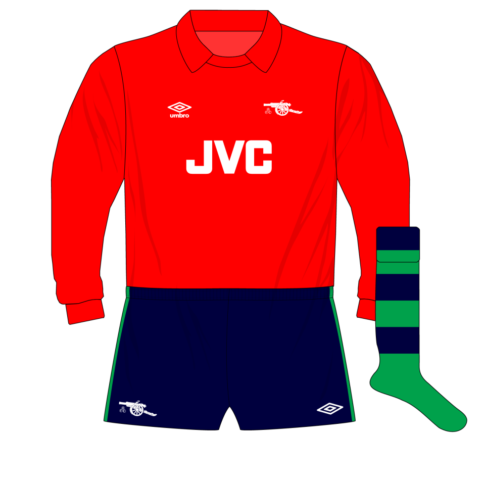 new styles 5d447 5ed3e Arsenal-Umbro-1982-1983-red-goalkeeper-shirt-kit-George-Wood ...