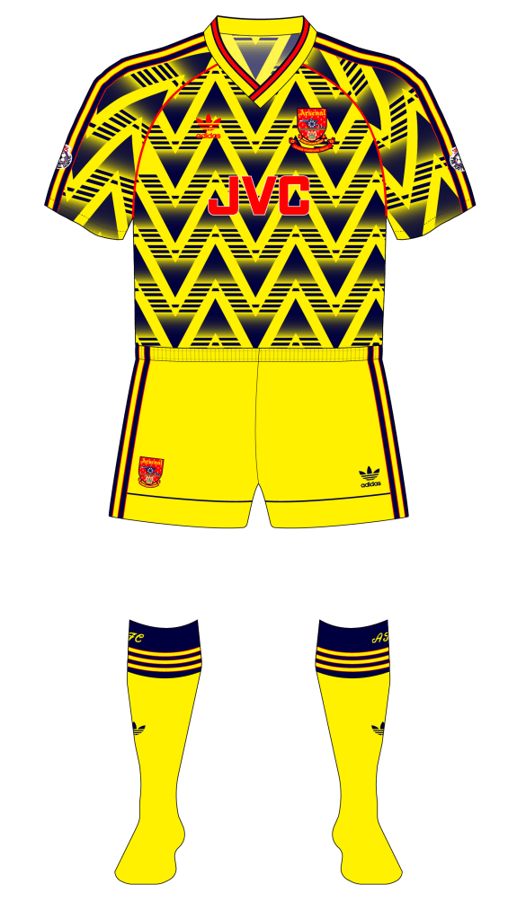 0776f71c538 The yellow alternate away shorts Arsenal wore during the 1991-92 season or  Manchester United's black alternate home shorts, 1992-94 and 1994-96