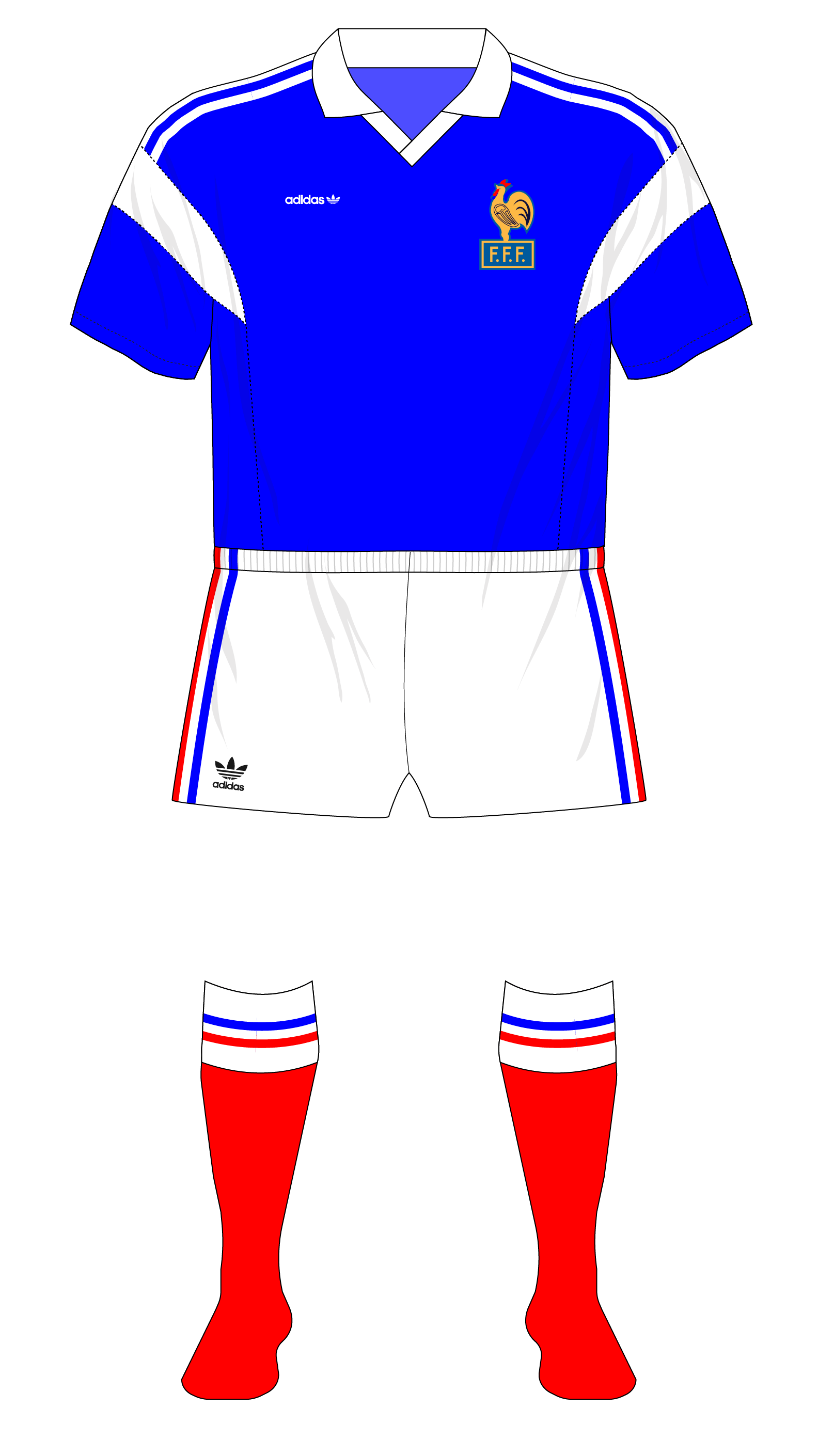 e0a1dd1d2 France's 1980s and 1990s adidas underage team kits – Museum of Jerseys